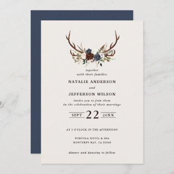 rustic floral and antlers wedding navy blue