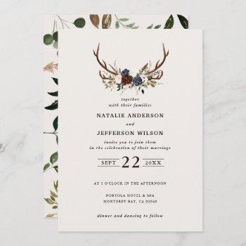 rustic floral and antlers wedding navy burgundy