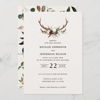 rustic floral and stag antlers wedding invite