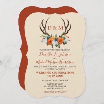 rustic floral antlers boho wedding invitation