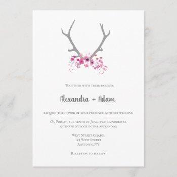 rustic floral antlers wedding invitations