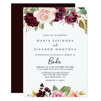 rustic floral & botanical foliage spanish wedding invitation