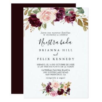rustic floral botanical nuestra boda wedding invitation