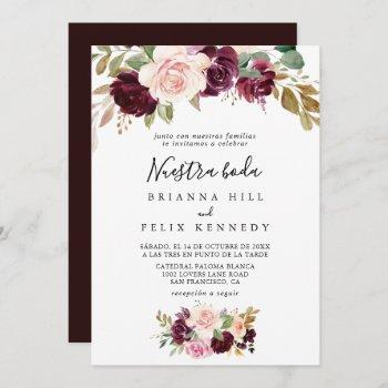 rustic floral botanical nuestra boda wedding invitation