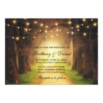 rustic forest path string lights wedding invitation