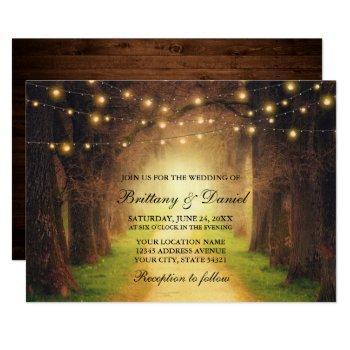 rustic forest path wood string lights wedding invitation