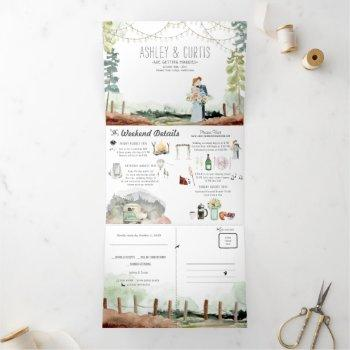 rustic forest woods wedding | tri-fold invitation