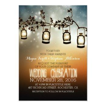 rustic garden lights - lanterns wedding invitation