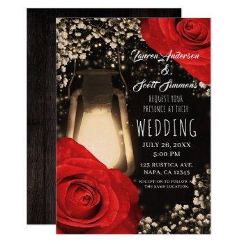 rustic glow lantern bright red roses glam wedding invitation