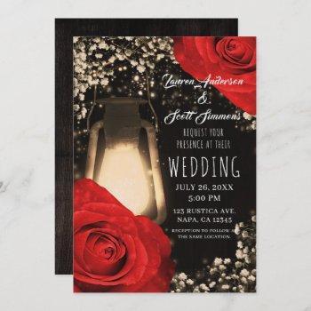 rustic glow lantern bright red roses glam wedding invitation