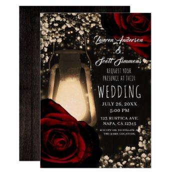 rustic glow lantern & dark red roses wedding invitation