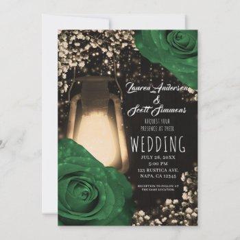 rustic glow lantern garden green roses wedding invitation