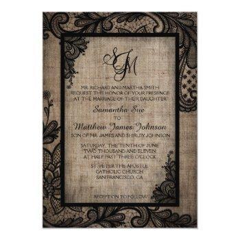 rustic goth black lace burlap wedding invitation