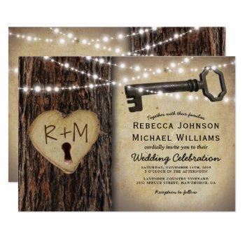 rustic gothic skeleton key & tree heart wedding invitation