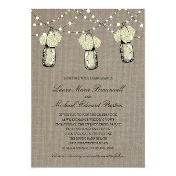 rustic hanging mason jar hydrangea wedding invitation