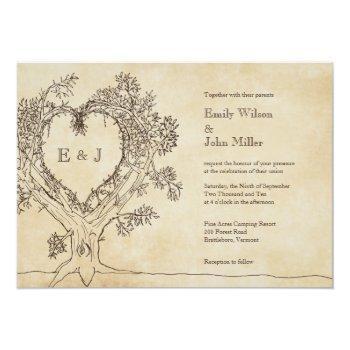 rustic heart in a tree wedding invitations