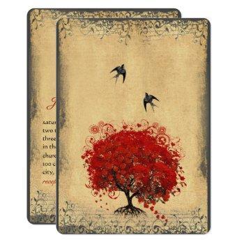 rustic heart leaf red tree love bird wedding invitation