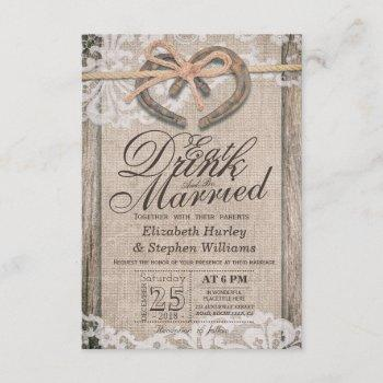 rustic horseshoe lace eat drink be married wedding invitation