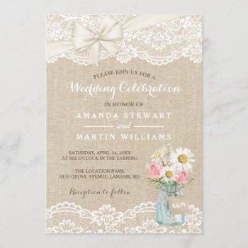 rustic ivory burlap lace floral mason jar wedding invitation