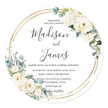 rustic ivory floral eucalyptus wedding gold circle invitation
