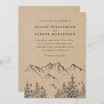 rustic kraft hand-drawn mountains & pines wedding invitation