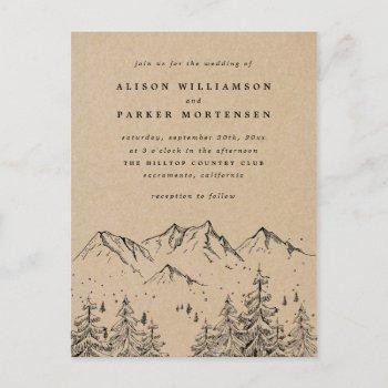 rustic kraft hand-drawn mountains & trees wedding invitation postcard