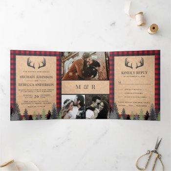 rustic kraft red buffalo plaid deer antler wedding tri-fold invitation