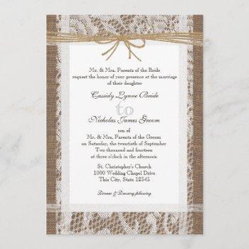 rustic lace and jute twine wedding invitation