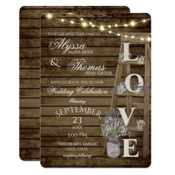 rustic ladder and lights lavender love wedding invitation