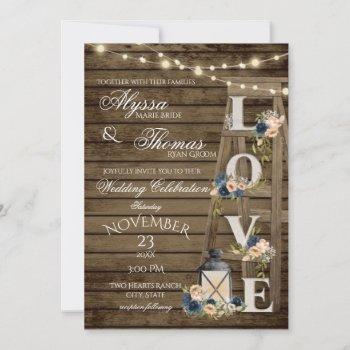 rustic ladder and lights vintage blue love wedding invitation