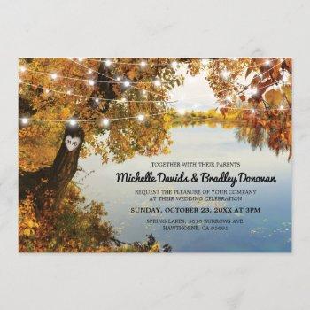 rustic lake fall tree wedding invitation