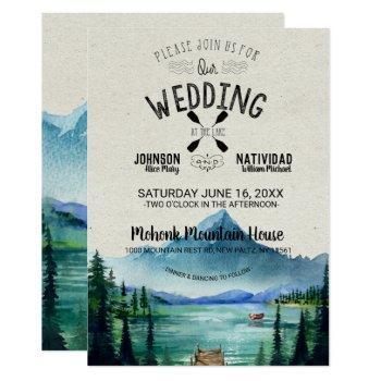 rustic lakeside mountain wedding invitation