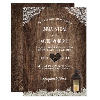rustic lantern & baby's breath laced wood wedding invitation