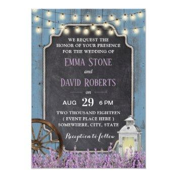 rustic lantern lavender floral dusty blue wedding invitation