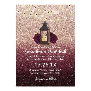 rustic lantern modern burgundy rose gold wedding invitation