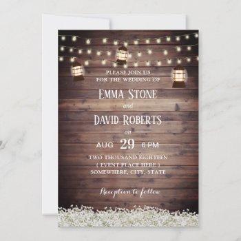 rustic lantern string lights baby's breath wedding invitation