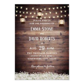 rustic lantern string lights baby's breath wedding invitation