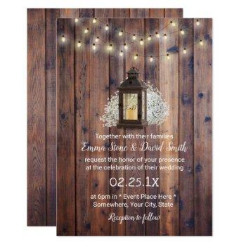 rustic lantern & string lights barn wedding invitation