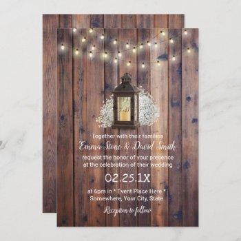 rustic lantern & string lights barn wedding invitation
