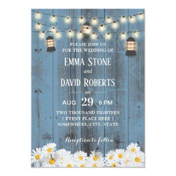 rustic lanterns & daisy flowers dusty blue wedding invitation