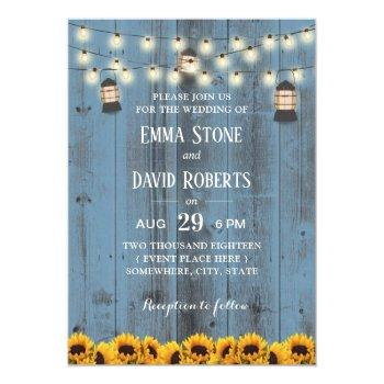 rustic lanterns & sunflowers dusty blue wedding invitation