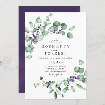 rustic lavender and eucalyptus casual wedding invitation