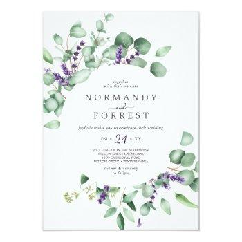 Small Rustic Lavender And Eucalyptus Casual Wedding Invitation Front View
