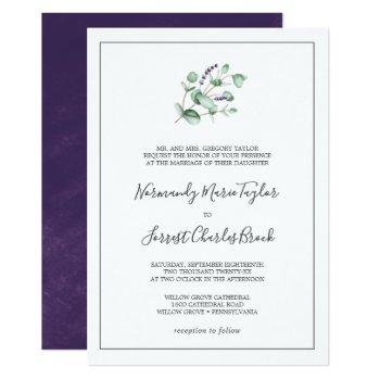 rustic lavender and eucalyptus formal wedding invitation