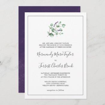 rustic lavender and eucalyptus formal wedding invitation
