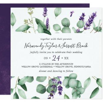 rustic lavender and eucalyptus square wedding invitation
