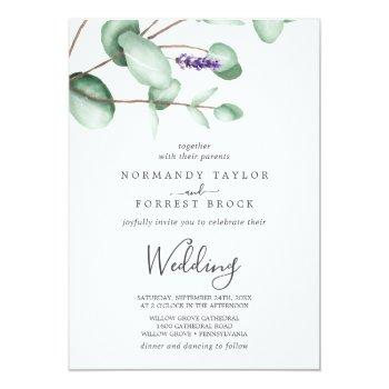 Small Rustic Lavender And Eucalyptus Wedding Invitation Front View