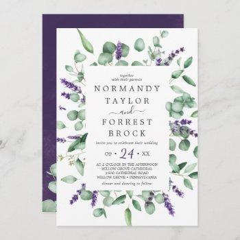 rustic lavender & eucalyptus all in one wedding invitation