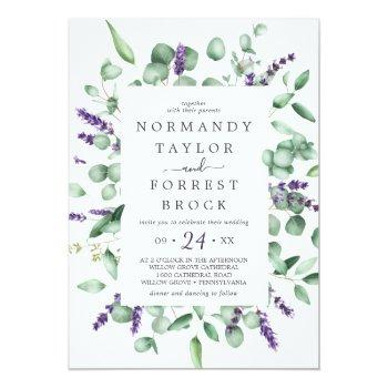 Small Rustic Lavender & Eucalyptus All In One Wedding Invitation Front View