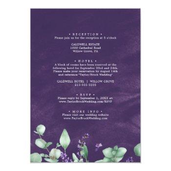 Small Rustic Lavender & Eucalyptus All In One Wedding Invitation Back View